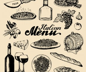 italian food menu vector material
