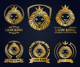 lion king luxury labels vector