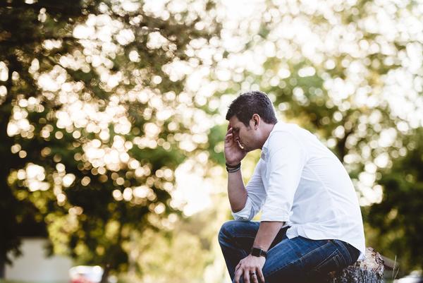 man with upset emotion Stock Photo