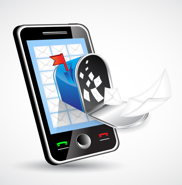 mobile phone with letter vector