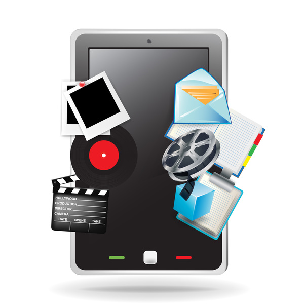 mobile phone with movie vector