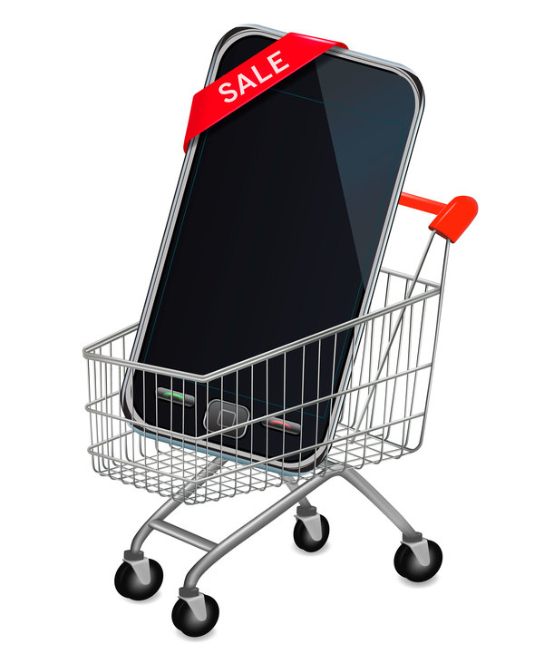 mobile phone with shopping cart vector
