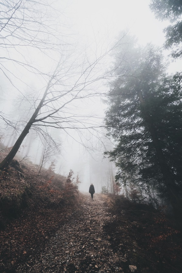 person walking on empty misty pathway Stock Photo