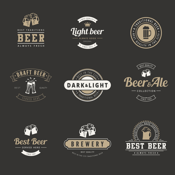 retro Beer labels with badge vector
