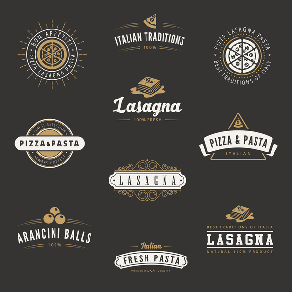 retro pizza labels with badge vector
