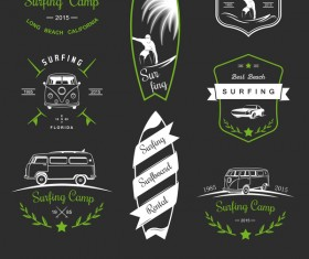 surfing school logos vector 01