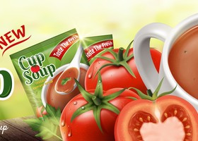 tomato cup soup ad poster template vector 01