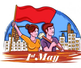 1 May international workers labor day poster hand drawn vector 01