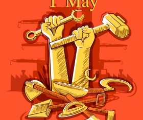 1 May international workers labor day poster hand drawn vector 06