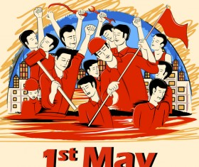 1 May international workers labor day poster hand drawn vector 07