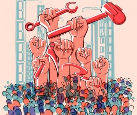 1 May international workers labor day poster hand drawn vector 10