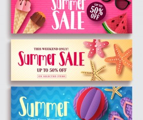 3 Kind summer banner vector template
