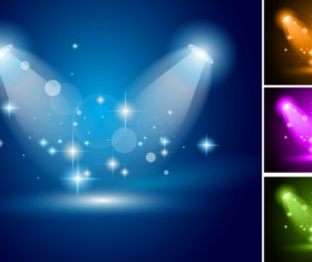 4 Kind color spotlights effect vector
