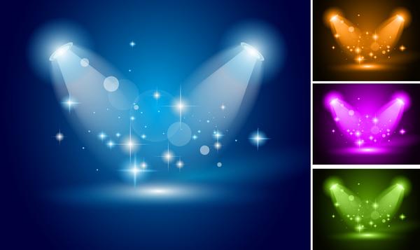 4 Kind color spotlights effect vector