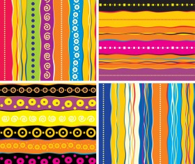 4 Kind colored striped vector background