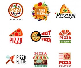 9 Kind pizza logos design vector