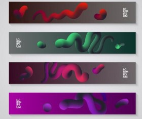 Abstract 3D banners vector