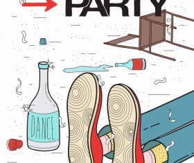 After party poster template vector