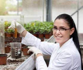 Agronomist farmer detects soil Stock Photo