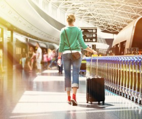 Airport Woman tourist Stock Photo