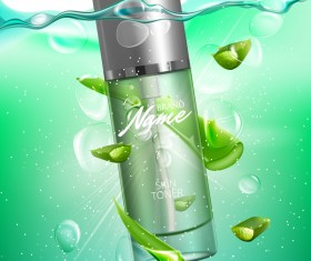 Aloe vera cosmetic advertising poster vector