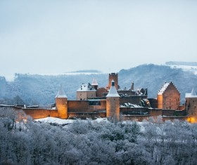 Ancient castle in frosty land Stock Photo