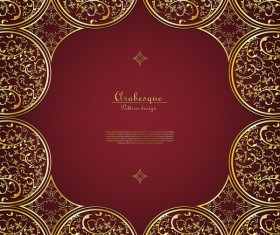 Arabesque Thai with gold flower background template vector