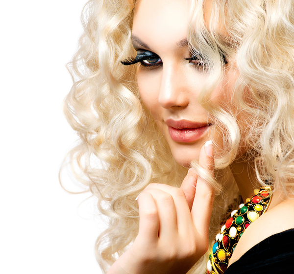 Attractive girl with golden curls Stock Photo 01