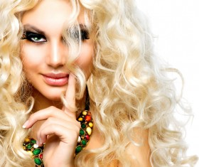 Attractive girl with golden curls Stock Photo 02