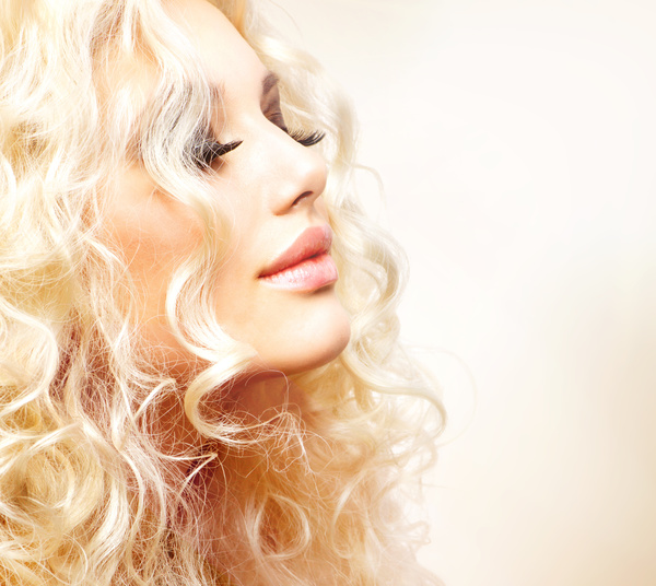 Attractive girl with golden curls Stock Photo 03