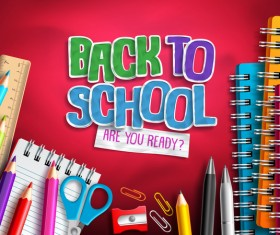 Back to school background with education accessories vector 01