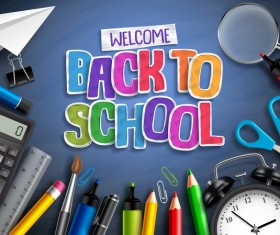 Back to school background with education accessories vector 02