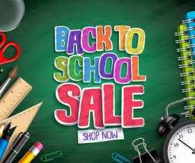 Back to school with sale background vector 04