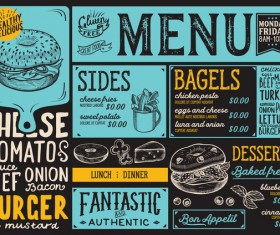Bagel food menu vector