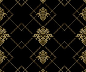 Baroque seamless pattern with ornament vector 02