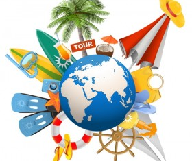 Beach travel elements summer holiday vector 01
