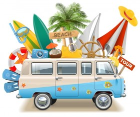 Beach travel elements summer holiday vector 02