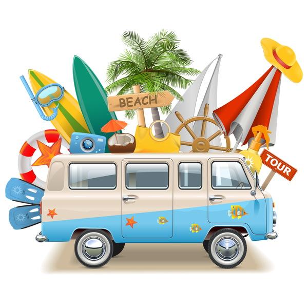 Beach travel elements summer holiday vector 02