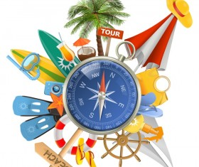 Beach travel elements summer holiday vector 03