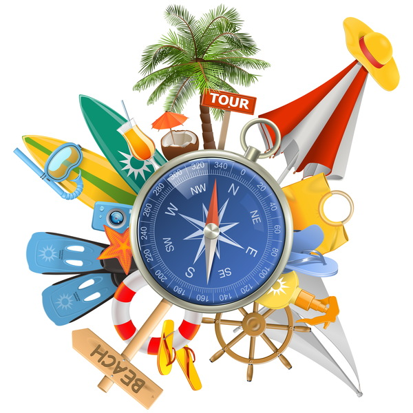 Beach travel elements summer holiday vector 03