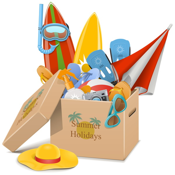 Beach travel elements summer holiday vector 04
