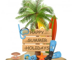 Beach travel elements summer holiday vector 05