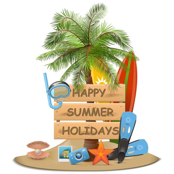 Beach travel elements summer holiday vector 05