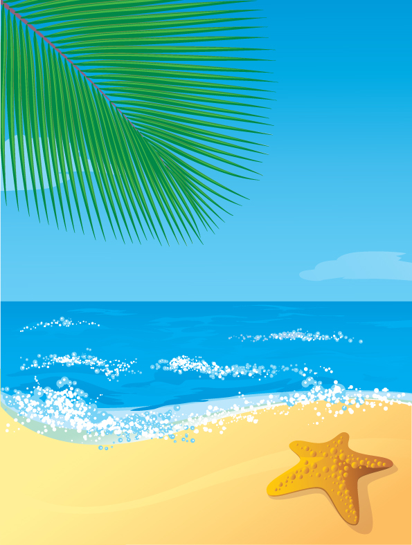 Beach with sea and satrfish vector