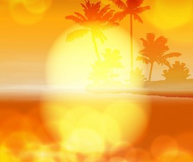 Beach with sunset blurs vector background