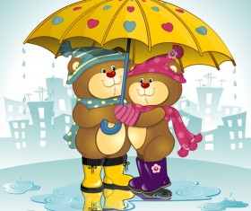 Bears Lovers with umbrella vector