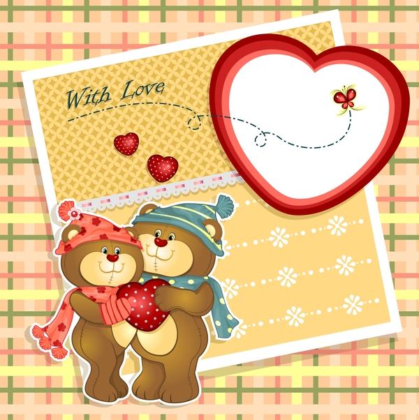 Bears with love card vector