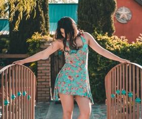 Beautiful charming woman posing outdoor Stock Photo