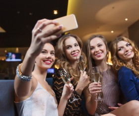 Beautiful women using smartphone selfie Stock Photo 02