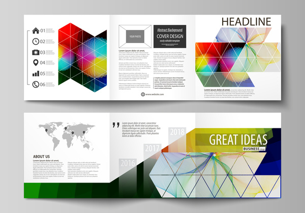 Bifold business brochure cover template vector 01